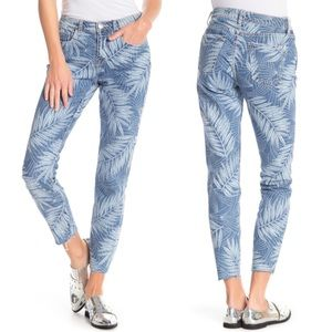 Current/Elliot The Stiletto Leaf Print Ankle Jeans
